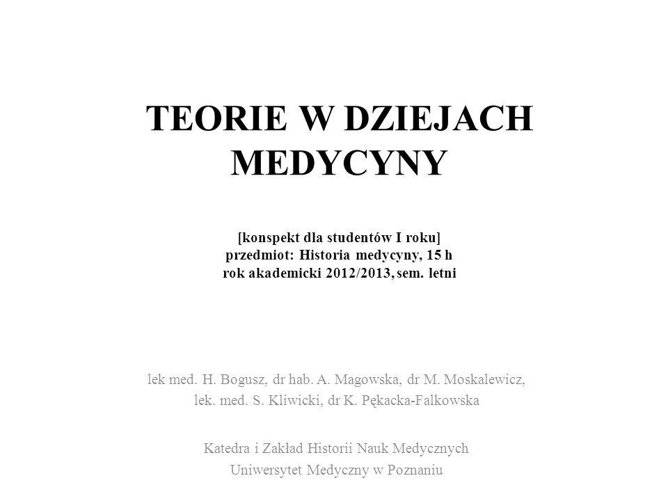 TEORIE W DZIEJACH MEDYCYNY [konspekt dla studentów I roku] przedmiot: Historia medycyny, 15 h rok akademicki 2012/2013, sem. letni